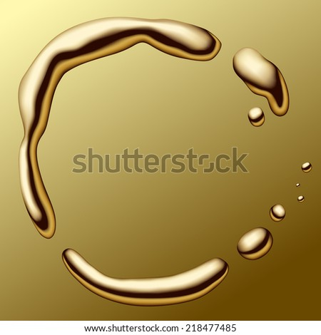 Gold frame on the gold  background (contain the Clipping Path) - stock photo