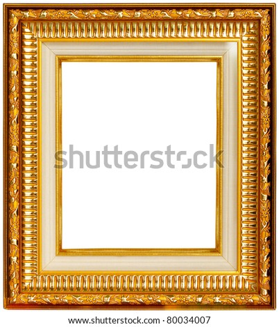 Gold frame on white background - stock photo