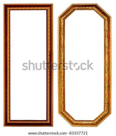 Gold frame on white background - stock photo