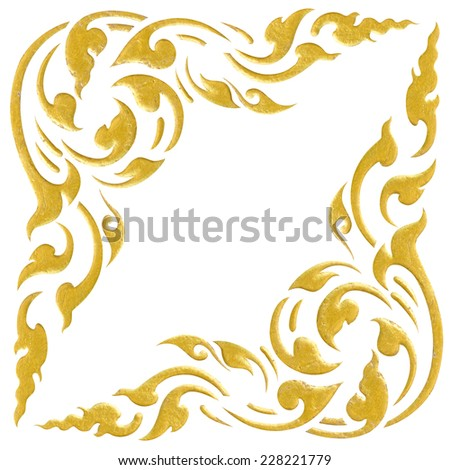Gold frame Stucco Thai style pattern isolated on white background