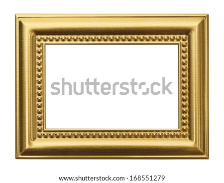 Gold Frame with Copy Space Isolated on White Background - stock photo