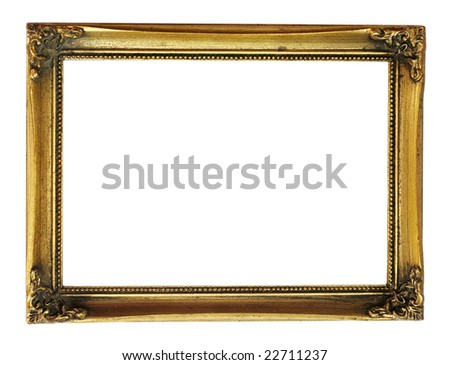 gold frame with decorative pattern - stock photo