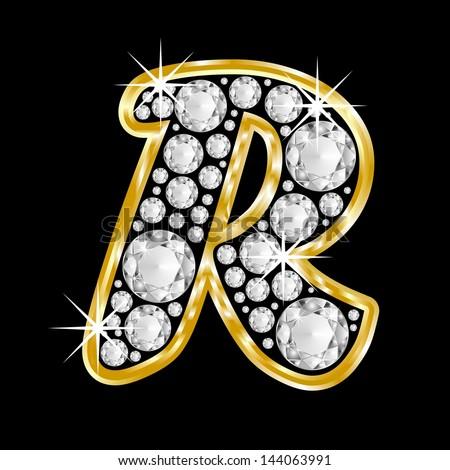 Gold framed alphabet letter R filled with diamonds on black background ...