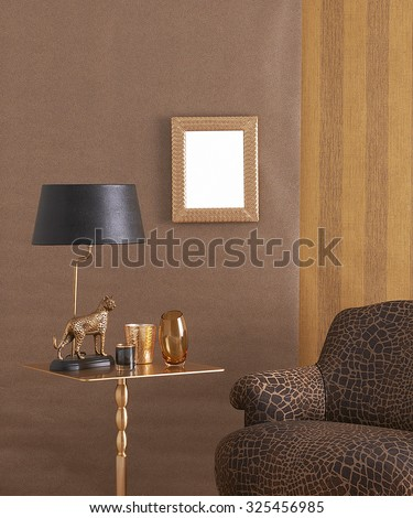 gold furniture interior style with frame vertical banner, gold sculpture - stock photo
