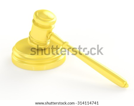Gold gavel and soundboard isolated on white 3d - stock photo