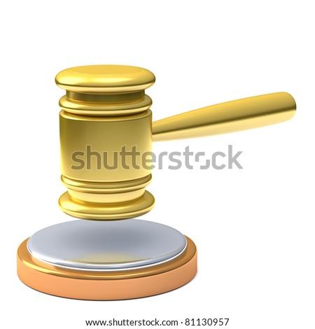 Gold gavel 3d - stock photo
