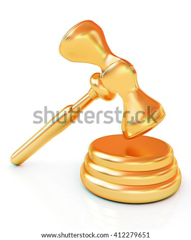 Gold gavel isolated on white background. 3D illustration. Anaglyph. View with red/cyan glasses to see in 3D.