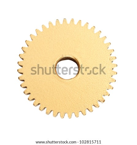 gold  gear isolated on white background - stock photo