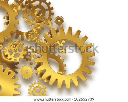 gold gears on a white background - industrial background - stock photo