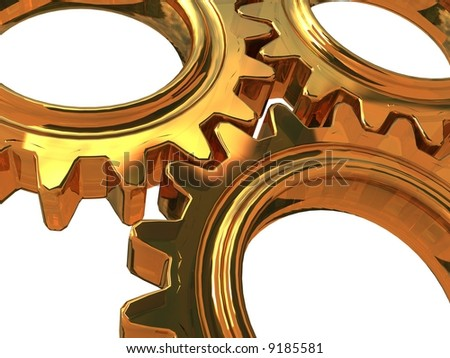 gold Gearwheels detail - stock photo