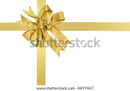 Gold gift bow, ribbon, isolated