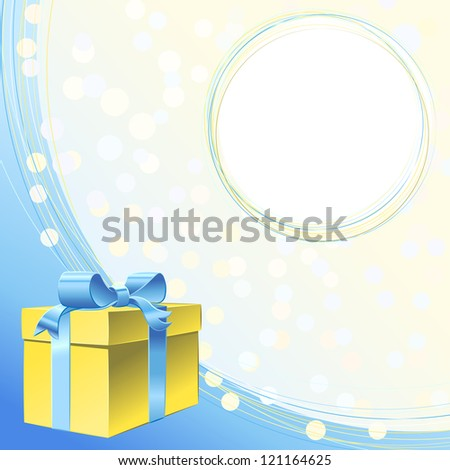 Gold gift box with blue ribbon bow and frame for greeting or invitation for holiday