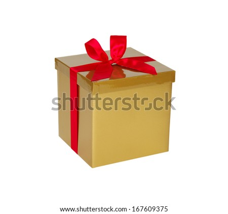 Gold gift box with red ribbon