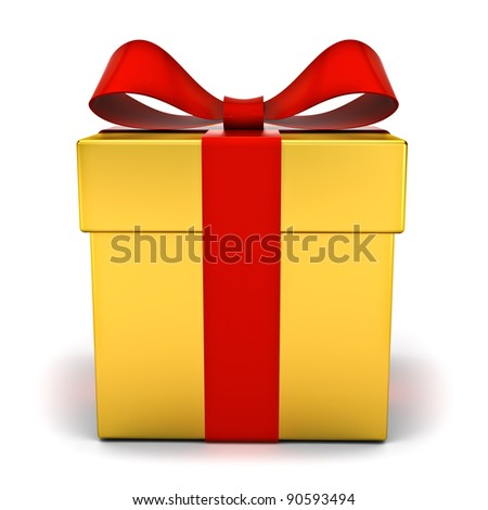 Gold gift box with red ribbon bow on white background - stock photo