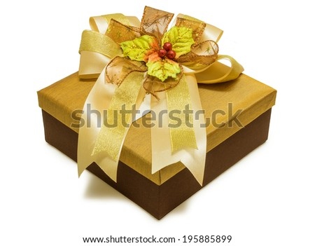 Gold gift box with ribbon isolated on white background - stock photo
