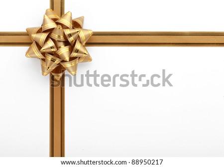 Gold gift ribbon - stock photo