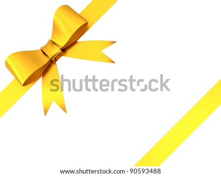 Gold gift ribbon bow isolated on white background - stock photo