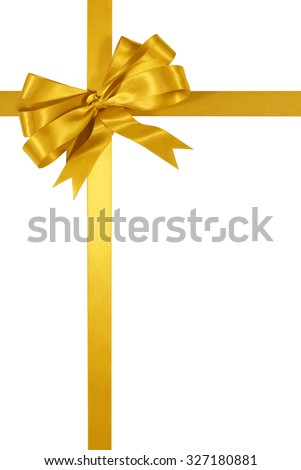 Gold gift ribbon bow isolated on white background vertical