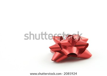 Gold gift ribbon on a white background