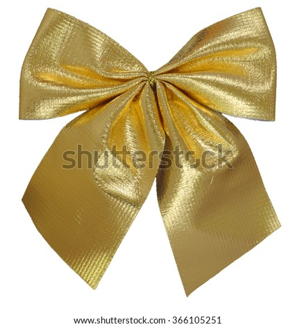 gold gift ribbon tied in a bow over white background - stock photo