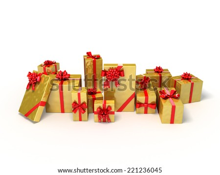 Gold gifts and red ribbons. Christmas 3d illustration. - stock photo