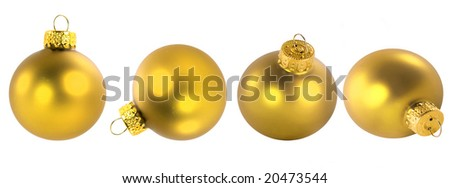 Gold glass Christmas ornaments in different positions.