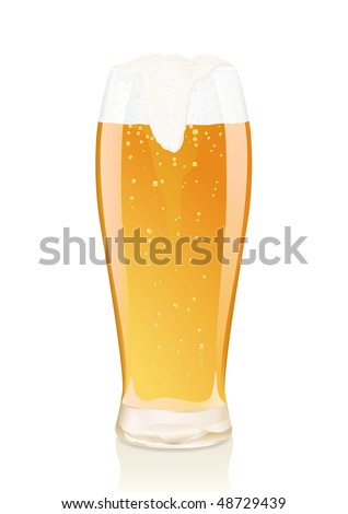 Gold glass of beer with vials and falling foam - stock photo
