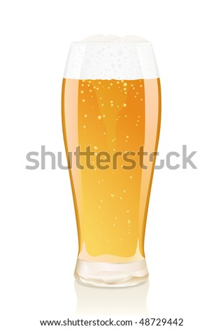 Gold glass of beer with vials and falling foam