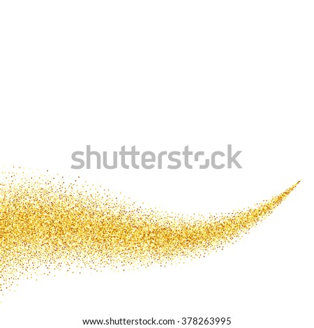 gold glitter abstract background, golden sparkles on white background, design template