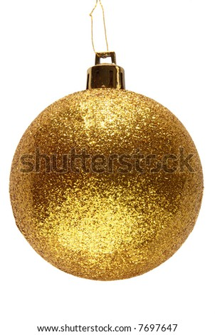 Gold glitter Christmas bauble ball. - stock photo