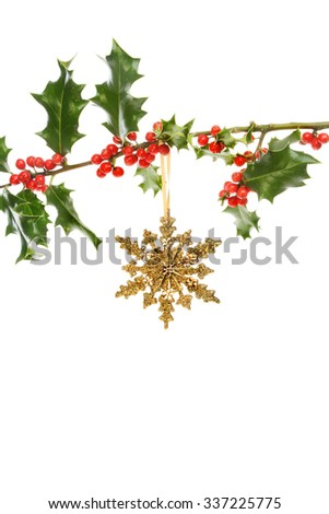 Gold glitter Christmas star hanging from a Holly bough with red berries against a white background - stock photo