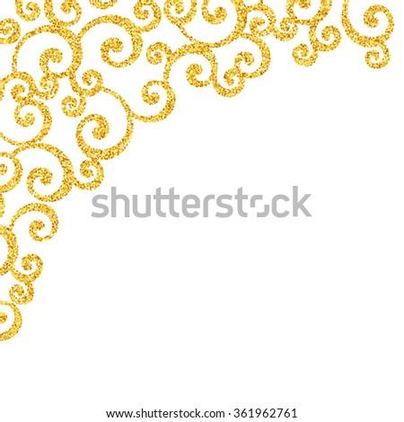 Gold glitter swirl pattern, golden sparkles on white background, vip design template - stock photo
