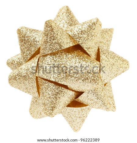 Gold glittered bow isolated on white clipping path included - stock photo