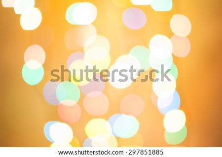 Gold glittering christmas lights. Blurred abstract background. - stock photo