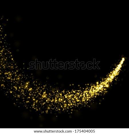 Gold glittering stars dust trail background - stock photo