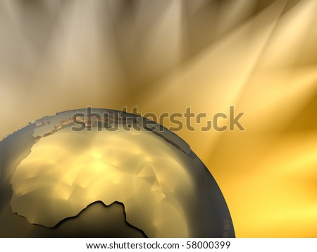Gold globe close-up - Africa, visible spotlights in background - stock photo