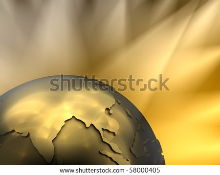 Gold globe close-up - Asia, visible spotlights in background - stock photo