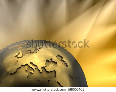 Gold globe close-up - Europe, visible spotlights in background - stock photo