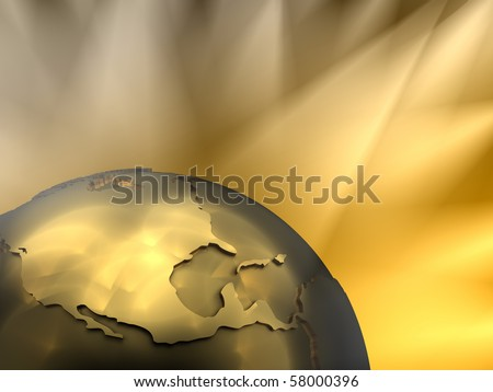 Gold globe close-up - North America, visible spotlights in background - stock photo