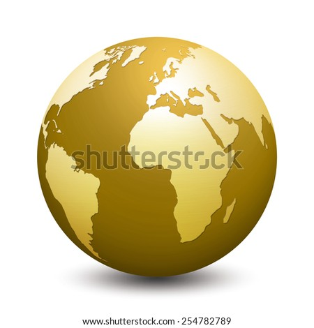 gold globe isolated on white background