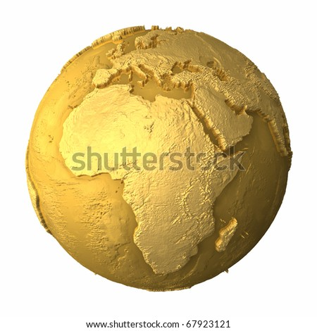 Gold globe - metal earth with realistic topography - africa, 3d render - stock photo