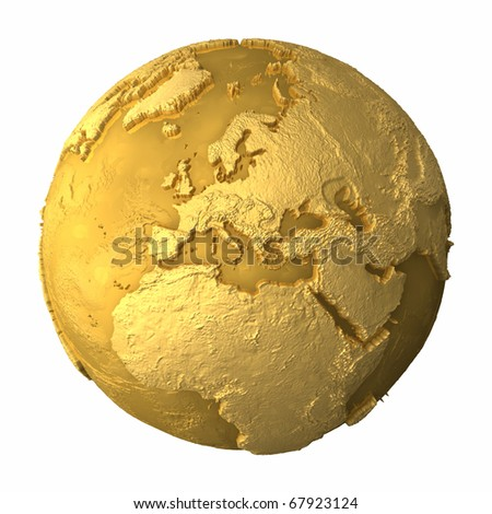 Gold globe - metal earth with realistic topography - europe, 3d render - stock photo