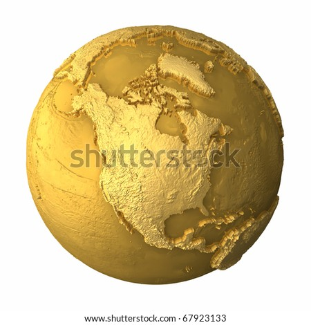 Gold globe - metal earth with realistic topography - north america, 3d render - stock photo