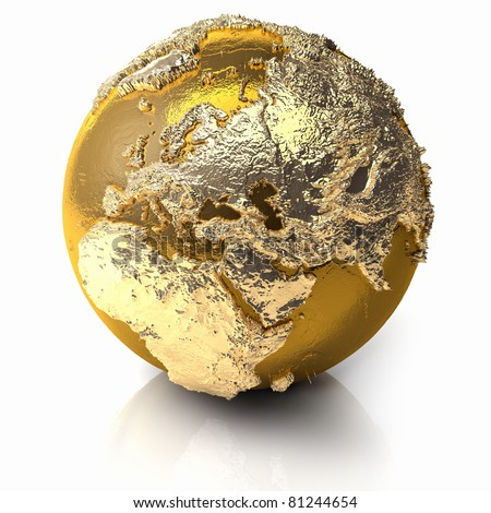 Gold globe with realistic topography and light reflections, metal earth - europe, 3d render - stock photo