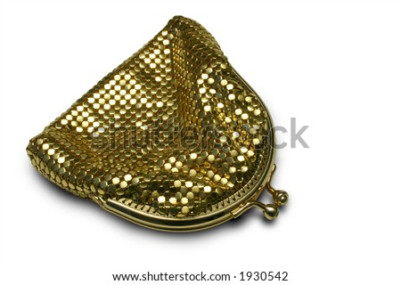 Gold Glomesh change purse, circa 1975, isolated on white - stock photo