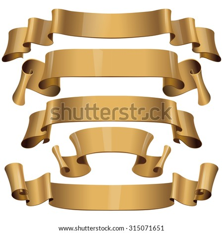 Gold Glossy ribbons on a white background for your design project. - stock photo