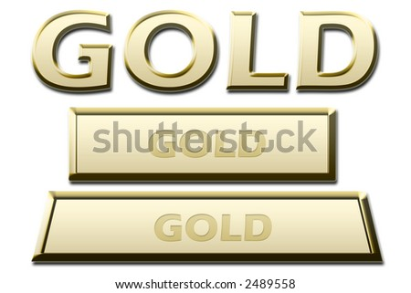 gold, golden sign, symbol and gold, golden brick, bar on white background - stock photo