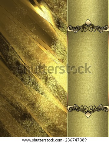 Gold grunge texture with gold plate - stock photo