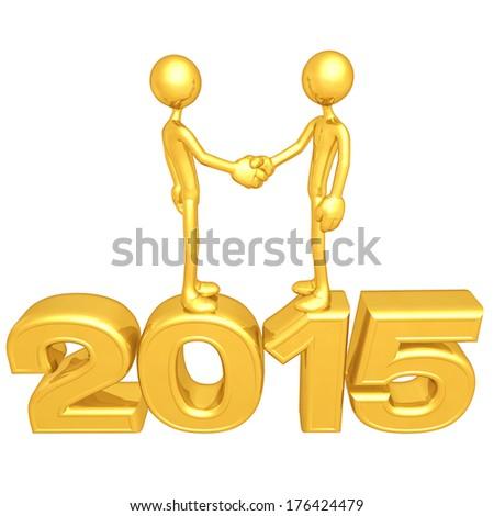 Gold Guy Business Handshake 2015 - stock photo