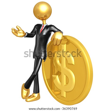 Gold Guy Businessman With Dollar Coin - stock photo